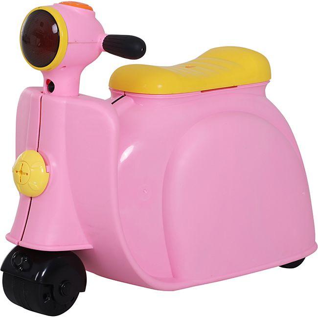 HOMCOM Kinderkoffer als Motorrad rosa 52 x 23 x 39 cm (LxBxH) | 4-in-1-Koffer Reisegepäck Tasche Kinderanhänger - Bild 1