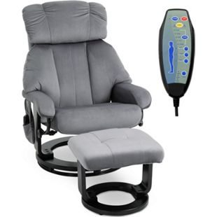 HOMCOM Massagesessel mit Fußhocker grau 76 x 80 x 102 cm (LxBxH)   TV Sessel Fernsehsessel Relaxsessel mit Hocker - Bild 1