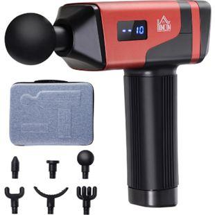 HOMCOM Massagegerät mit 6 Wechselköpfen schwarz, rot 6,5 x 17,5 x 22 cm (BxTxH) | Massagepistole Massage Gun Vibrationsmassagegerät - Bild 1
