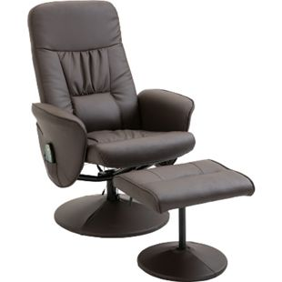 HOMCOM Massagesessel mit Fußhocker 81 x 81 x 105 cm (BxTxH) | TV Sessel Fernsehsessel Relaxsessel mit Hocker - Bild 1