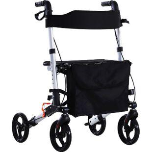 HOMCOM Rollator mit Stuhl und Tasche schwarz, silber 62,5 x 67 x 78,5-91 cm (LxBxH) | Faltbarer Gehwagen Reiserollstuhl Reiserollator - Bild 1