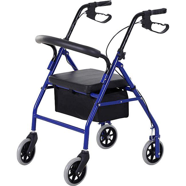 HOMCOM Rollator mit Stuhl und Tasche schwarz, blau 75 x 56 x 83-93 cm | Reiserollstuhl Reiserollator Gehilfe Gehwagen - Bild 1