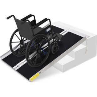 HOMCOM Rollstuhlrampe faltbar silber, schwarz 93 x 76 x 5 cm | Auffahrrampe für Rollstühle und Rollatoren Rampe - Bild 1