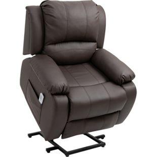 HOMCOM Massagesessel mit Liegefunktion und Aufstehhilfe braun 92 x 92,5 x 101 cm (BxTxH) | Fernsehsessel TV Sessel Relaxsessel Sessel - Bild 1