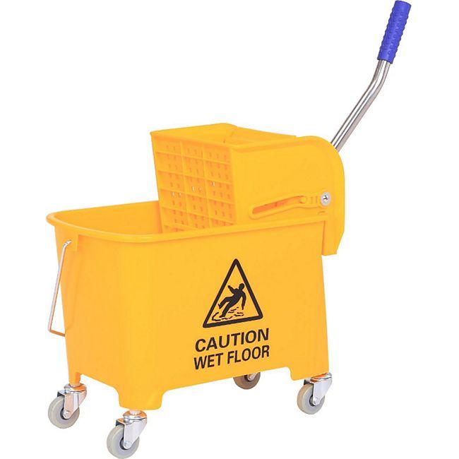 HOMCOM Putzwagen mit Presse gelb 63 x 27 x 67 cm (LxBxH) | Wischwagen Reinigungseimer Putzeimer mit Rollen - Bild 1