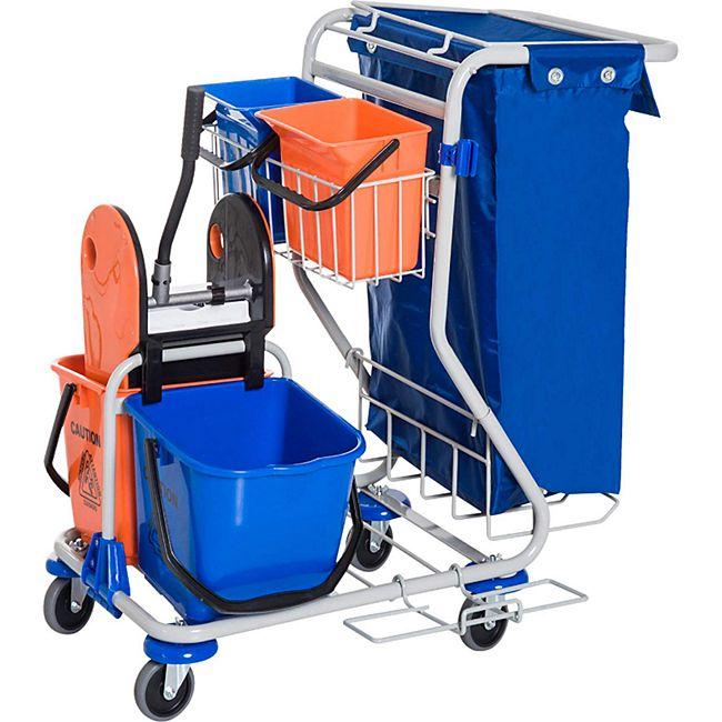 HOMCOM Putzwagen mit 4 Fahreimern blau, orange 100 x 70 x 103 cm (LxBxH) | Reinigungswagen Wischwagen Systemwagen mit Rollen - Bild 1