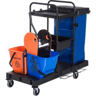 HOMCOM Putzwagen mit 4 leichtgängigen Rollen schwarz, blau, orange 111x 63,3x 103 cm (LxBxH) | Reinigungswagen Wischwagen Systemwagen mit Rollen - Bild 1