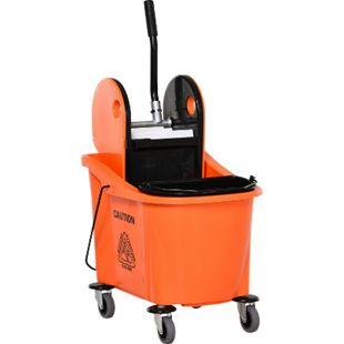 HOMCOM Putzwagen mit Auswringvorrichtung schwarz, orange 54 x 41 x 91,5 cm (LxBxH) | Reinigungswagen Wischwagen Systemwagen mit Rollen - Bild 1
