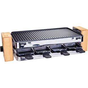 HOMCOM Raclette mit 8 Pfännchen schwarz, Bambus 49,5 x 25 x 13,3 cm (LxBxH)   Elektrogrill Tischgrill elektrischer Partygrill - Bild 1