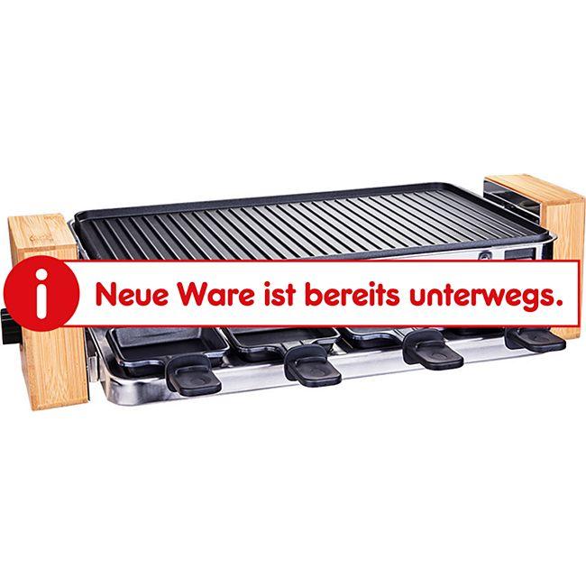 HOMCOM Raclette mit 8 Pfännchen schwarz, Bambus 49,5 x 25 x 13,3 cm (LxBxH) | Elektrogrill Tischgrill elektrischer Partygrill - Bild 1