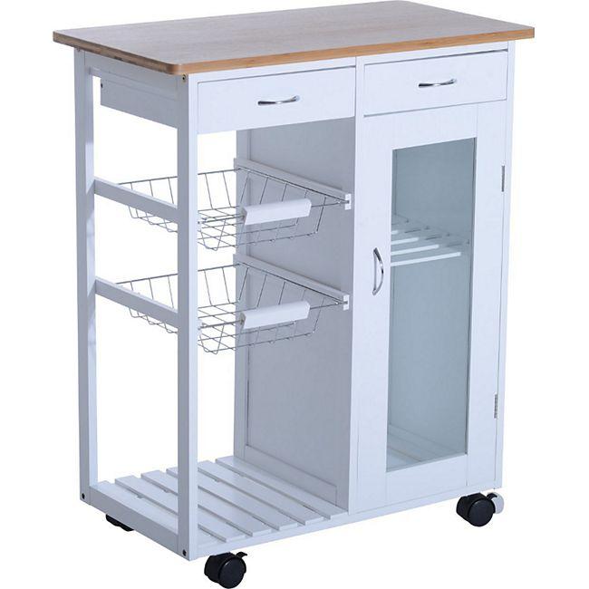 HOMCOM Küchenwagen | Servierwagen Küchenregal Küchentrolley Wagen ...
