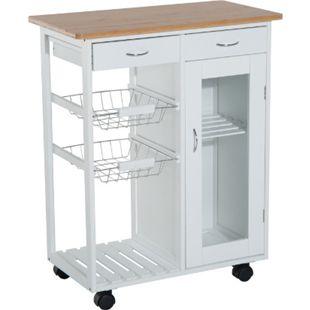 HOMCOM Küchenwagen weiß 70 x 37 x 85 cm (LxBxH) | Servierwagen Küchenregal Küchentrolley Wagen - Bild 1