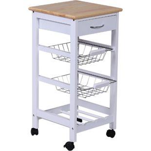 HOMCOM Küchenwagen mit Metallkörben weiß 37,5 x 37,5 x 76,5 cm (LxBxH) | Servierwagen Küchenregal Küchentrolley Wagen - Bild 1