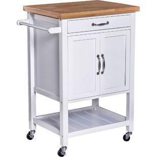 HOMCOM Küchentrolley mit zahlreichen Staumöglichkeiten weiß, natur 65 x 48 x 90 cm (BxTxH) | Servierwagen Küchenwagen Rollwagen Bestelltisch - Bild 1