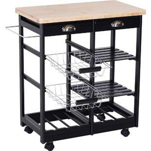 HOMCOM Küchenrollwagen mit Korb, Schublade, Weinablage 74 x 37 x 76 cm (LxBxH) | Servierwagen Küchentrolley Küchen Beistellwagen - Bild 1