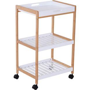 HOMCOM Küchenrollwagen mit abnehmbarem Serviertablett weiß, natur 46 x 35 x 74,5 cm (LxBxH) | rollbarer Küchenwagen Küchentrolley Servierwagen - Bild 1