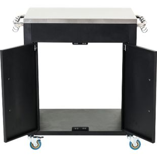 HOMCOM Küchenschrank auf Rollen schwarz 86 x 50 x 84,5 cm (BxTxH) | Küchenwagen Rollwagen Beistellwagen Servierwagen - Bild 1