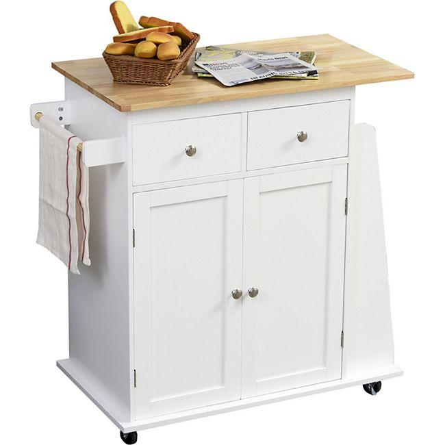 HOMCOM Küchenrollwagen mit vielen Staumöglichkeiten weiß, natur 89 x 45 x 89,5 cm (BxTxH)   Servierwagen Küchentrolley Küchen Beistellwagen - Bild 1