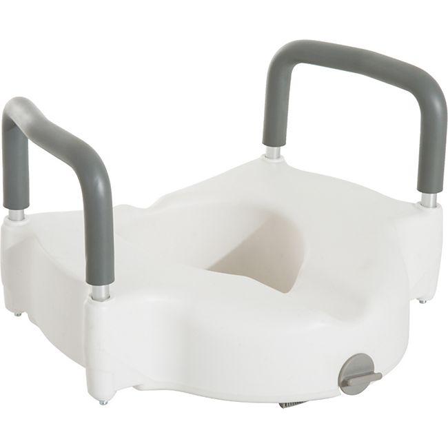 HOMCOM Toilettenaufsatz mit Armlehne weiß 52 x 44,5 x 36,2 cm (BxTxH) | Toilettensitzerhöher Toilettensitz WC-Sitzerhöhung - Bild 1
