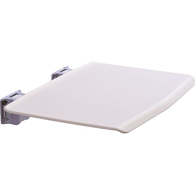 kleankin Duschklappsitz mit Wand-Schemel weiß 35 x 33,8 cm (BxT) | Badhocker Duschsitz Badestuhl Duschhocker - Bild 1