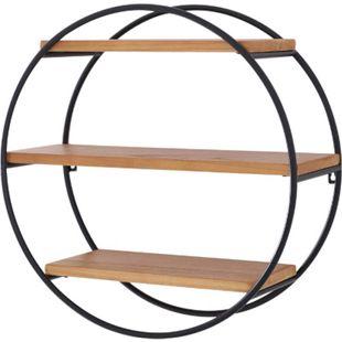 HOMCOM Rundes Wandregal mit 3 Fächer schwarz, natur 50 x 19 cm (ØxT) | Hängeregal Bücherregal Dekoregal Metallregal - Bild 1
