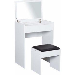 HOMCOM Kosmetiktisch mit Klappspiegel und Hocker weiß, schwarz 60,2 x 40,2 x 79 cm (LxBxH) | Schminktisch Frisiertisch Frisierkommode Spiegel - Bild 1