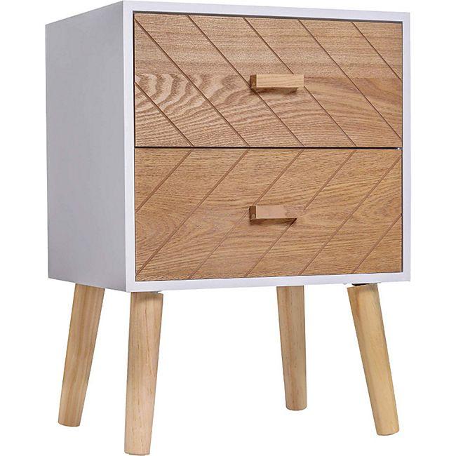 HOMCOM Nachtkommode mit 2 Schubladen weiß, natur 40 x 30 x 55,5 cm (LxBxH) | Nachtkonsole Nachttisch Beistelltisch Telefontisch - Bild 1