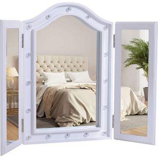 HOMCOM LED Kosmetikspiegel freistehend weiß (36-73) x 4,5 x 53,5 cm (BxTxH) | Schminkspiegel Badspiegel freistehender Spiegel - Bild 1