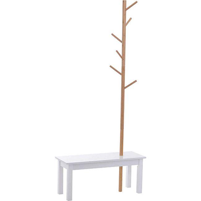 HOMCOM Garderobenständer mit Sitzbank weiß, natur 80 x 30 x 180 cm (LxBxH) | Kleiderständer Kleiderhaken Garderobe Baum-Design - Bild 1