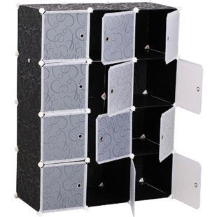 HOMCOM Kleiderschrank mit Stecksystem schwarz, weiß 47 x 111 x 145 cm (LxBxH) | Steckregal Garderobenschrank mit Kleiderstange - Bild 1