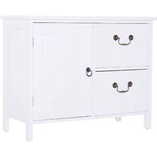 HOMCOM Sideboard mit 2 Schubladen weiß 75 x 34 x 60,5 cm (BxTxH) | Büromöbel Beistellschrank Flurkommode Schrank - Bild 1