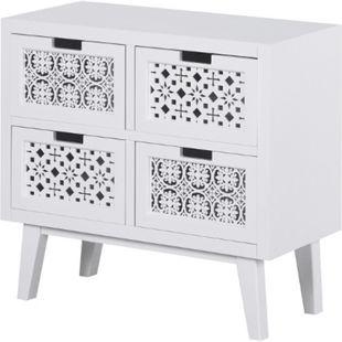 HOMCOM Nachttisch mit 4 Schubladen weiß 65 x 30 x 61 cm (LxBxH)   erhöhter Nachtschrank Beistelltisch Nachtkommode - Bild 1