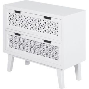 HOMCOM Nachttisch mit 2 Schubladen weiß 65 x 30 x 61 cm (LxBxH)   erhöhter Nachtschrank Beistelltisch Nachtkommode - Bild 1