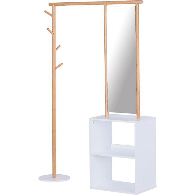 HOMCOM Garderobenständer mit Schminkspiegel und Regal natur, weiß 100 x 34 x 164 cm (LxBxH) | Flurgaderobe Garderobe Kleiderständer Flurmöbel - Bild 1