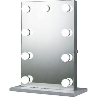 HOMCOM Kosmetikspiegel auf freistehendem Sockel silber 60 x 22 x 72,5 cm (BxTxH) | Hollywood Schminkspiegel mit 9 LED-Leuchten Badspiegel - Bild 1