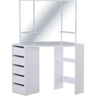 HOMCOM Schminktisch mit 3 Spiegeln und 5 Schubladen weiß 111 x 56,2 x 141,3 cm (LxBxH) | Frisierkommode Kosmetiktisch Frisiertisch - Bild 1