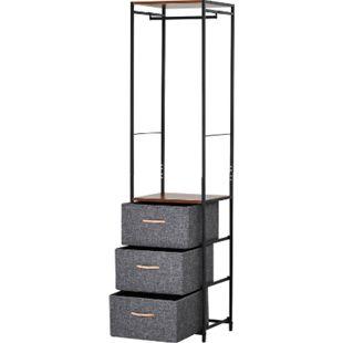 HOMCOM Garderobenständer mit 3 Schubladen grau 43 x 38 x 175 cm (BxTxH) | Flurgaderobe Garderobe mit Kleiderstange Flurmöbel - Bild 1