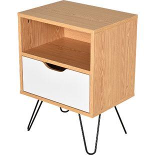HOMCOM Nachttisch mit Schublade natur, weiß 40 x 30 x 54 cm (BxTxH) | Nachtschrank Nachtkommode Beistellschrank Nachtkonsole - Bild 1