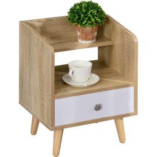 HOMCOM Nachttisch mit Schublade weiß, natur 37 x 30 x 48 cm (BxTxH) | Nachtschrank Beistellschrank Nachttischkommode - Bild 1