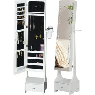 HOMCOM Schmuckschrank mit LED-Beleuchtung weiß 37 x 30 x 158 cm (BxTxH) | Schmuckregal Spiegelschrank mit Schublade Spiegel - Bild 1