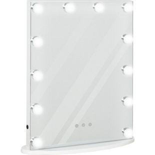 HOMCOM Schminkspiegel mit 12 LED-Lichter weiß 41,5 x 13,5 x 51 cm (BxTxH) | Hollywood Spiegel Theaterspiegel Kosmetikspiegel - Bild 1