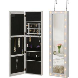 HOMCOM Schmuckschrank zum Aufhängen und mit LED-Lichter weiß 36,6 x 8 x 120 cm (BxTxH) | Spiegelschrank Schmuckregal Schminkspiegel Spiegel - Bild 1