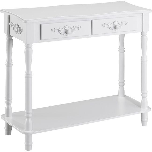 HOMCOM Konsolentisch im stilvollen Design weiß 84 x 33 x 70,5 cm (LxBxH) | Flurkommode Beistelltisch Wohmzimmertisch Tisch - Bild 1