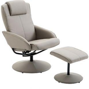 HOMCOM Relaxsessel mit Fußstütze grau | Fernsehsessel Armsessel Relexstuhl mit Fußablage - Bild 1