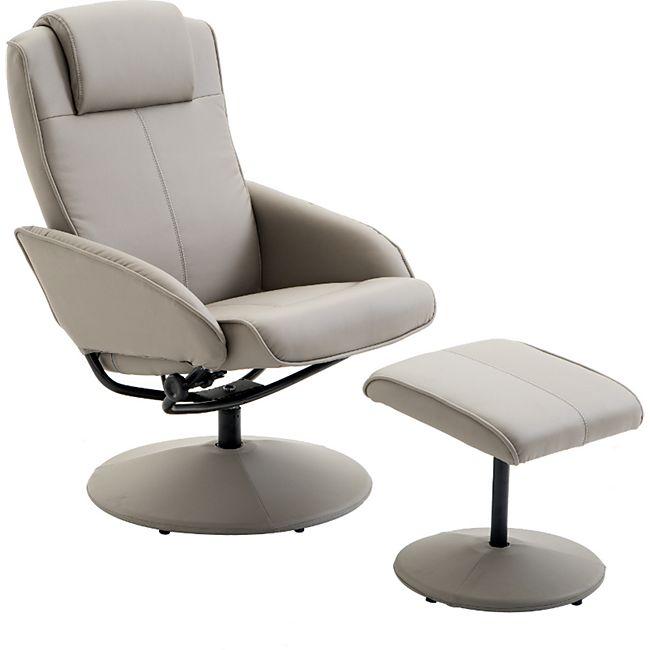 HOMCOM Relaxsessel mit Fußstütze grau   Fernsehsessel Armsessel Relexstuhl mit Fußablage - Bild 1