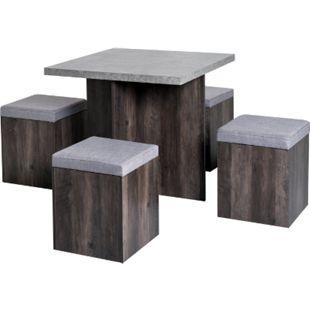 HOMCOM Esstischgruppe als 5-tlg. Set grau, braun   Sitzgruppe Essgruppe Küchentisch mit Hocker - Bild 1