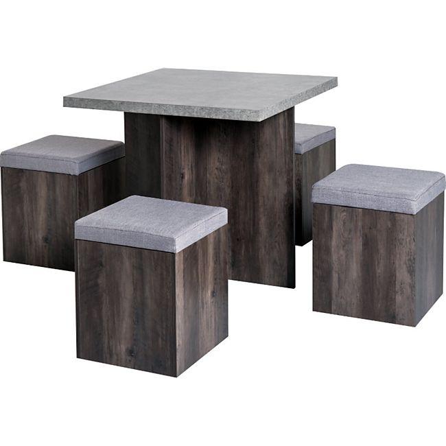 HOMCOM Esstischgruppe als 5-tlg. Set grau, braun | Sitzgruppe Essgruppe Küchentisch mit Hocker - Bild 1
