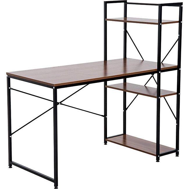 HOMCOM Computertisch mit Regal 120 x 64 x 121 cm (LxBxH)   Bürotisch Schreibtisch Arbeitstisch PC Tisch - Bild 1