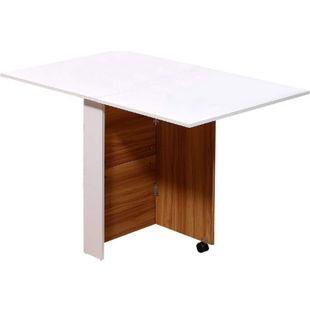 HOMCOM Mobiler Klapptisch Eiche, weiß   Mobiler Tisch Schreibtisch Beistelltisch mit Rollen - Bild 1