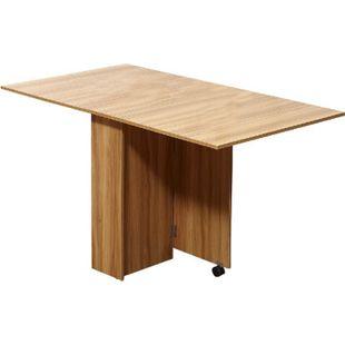 HOMCOM Mobiler Tisch natur   Klapptisch Schreibtisch Beistelltisch mit Rollen - Bild 1